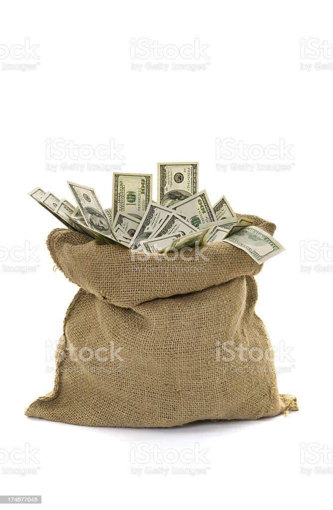 Sack filled with US Dollar notes royalty-free stock photo