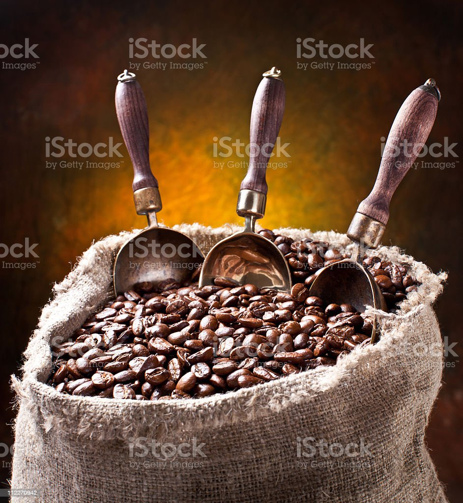 Sack of coffee beans and scoop. royalty-free stock photo