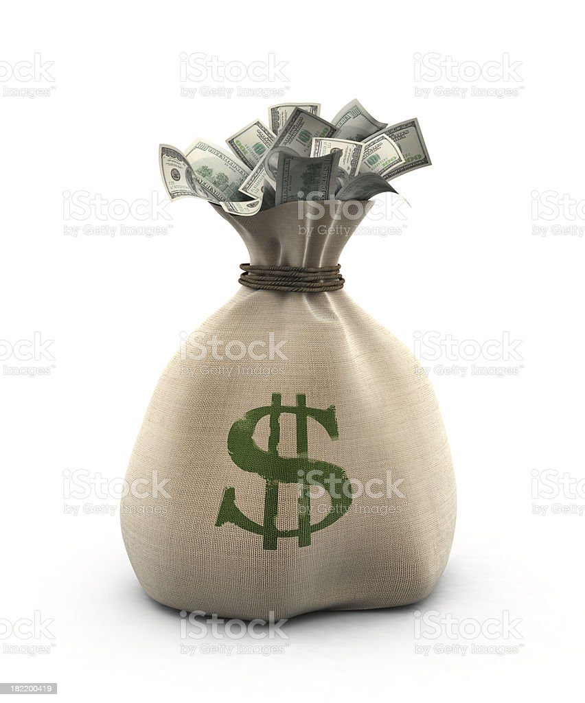 Sack of Dollars royalty-free stock photo