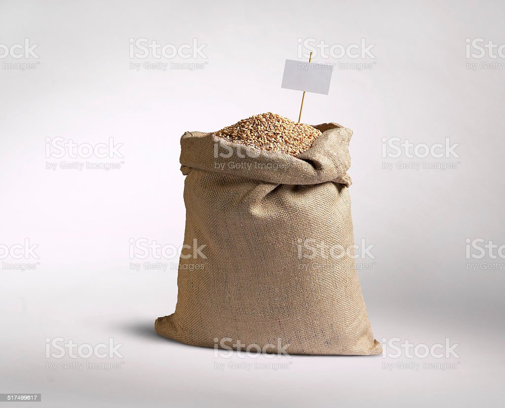 sack of grain stock photo