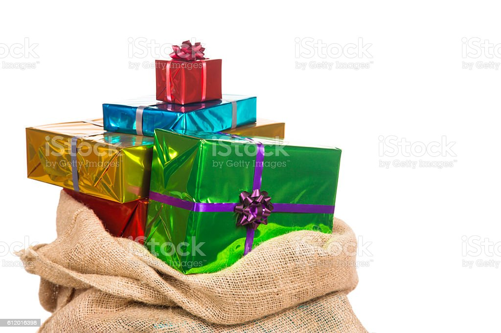 Sack of saint Nicholas with presents stock photo