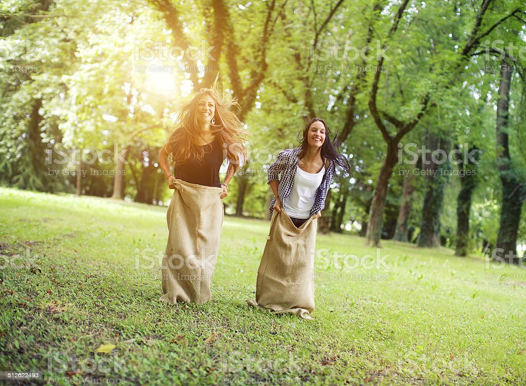 Sack Race stock photo
