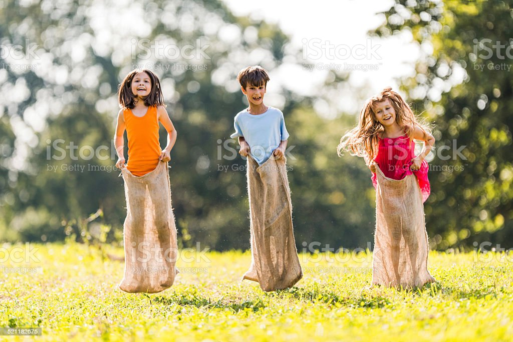 Sack race. stock photo