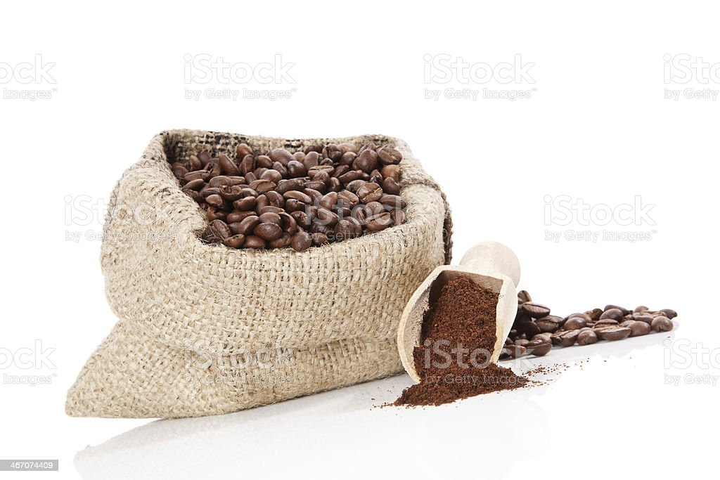 Sack with coffee beans isolated on white. royalty-free stock photo