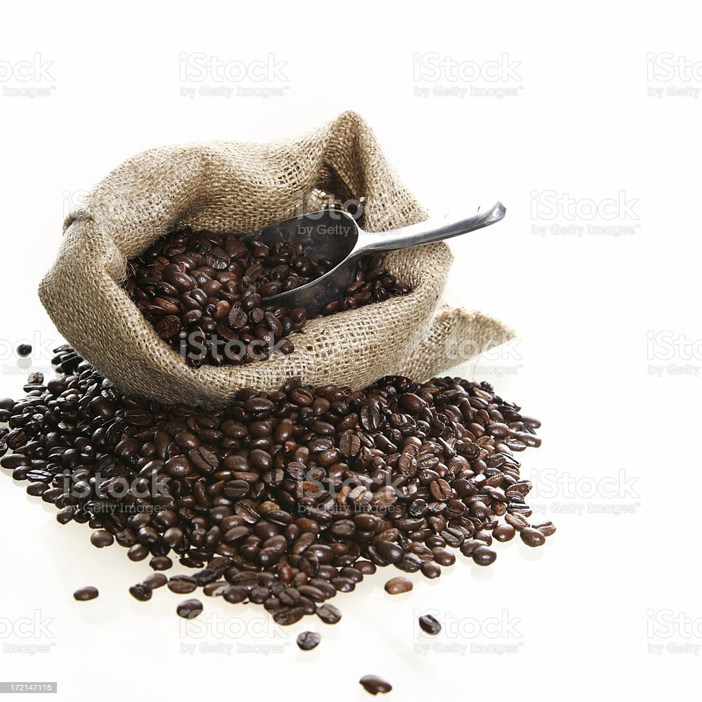 Sack with coffee beans royalty-free stock photo