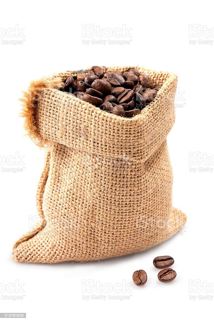 sack with coffee stock photo