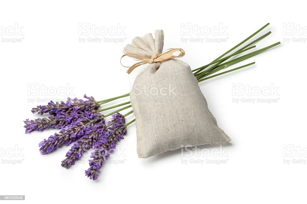 Sack with dried lavender flowers stock photo
