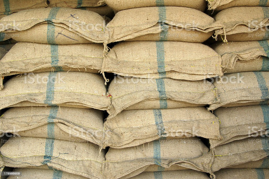 Sackful of rice royalty-free stock photo