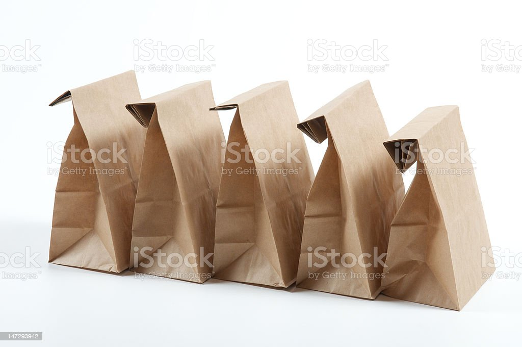 5 Sacks for lunch royalty-free stock photo