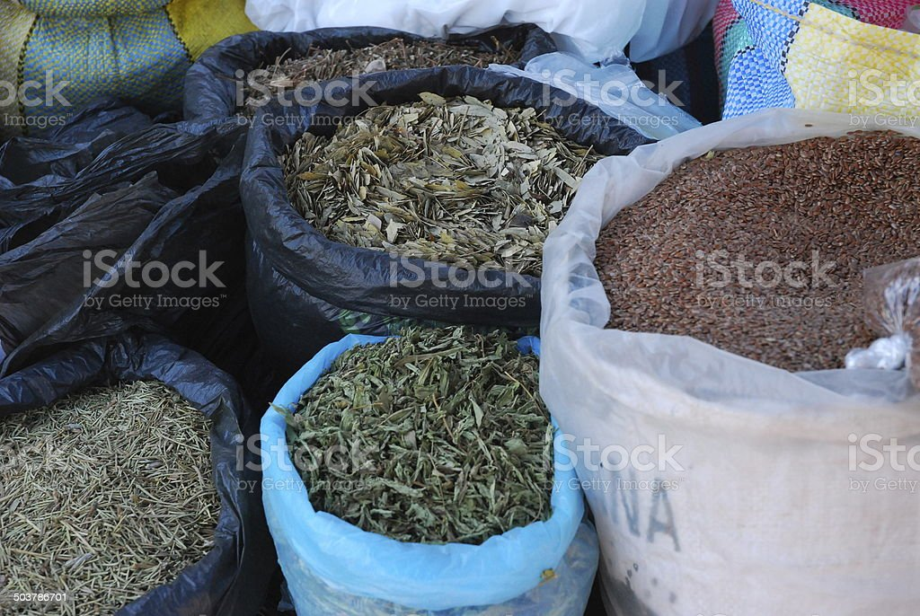 Sacks of herbs and seeds for sale royalty-free stock photo
