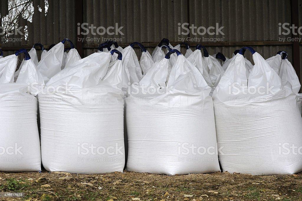 Sacks of Nitrogen Fertilizer royalty-free stock photo