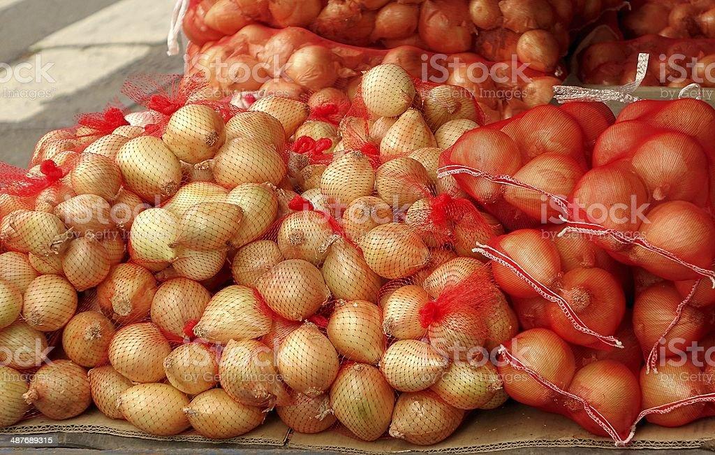 Sacks of Onions stock photo