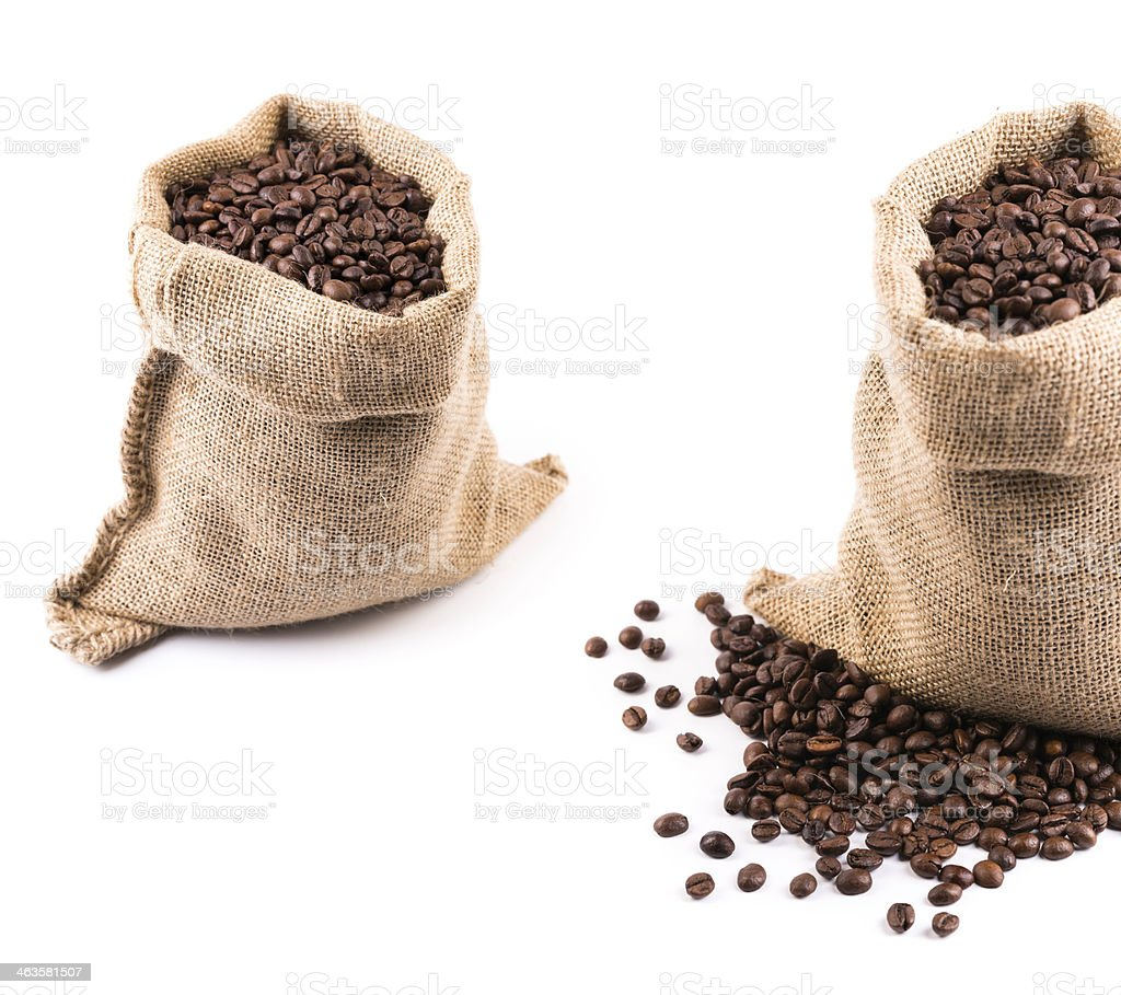 sacks with coffee beans royalty-free stock photo