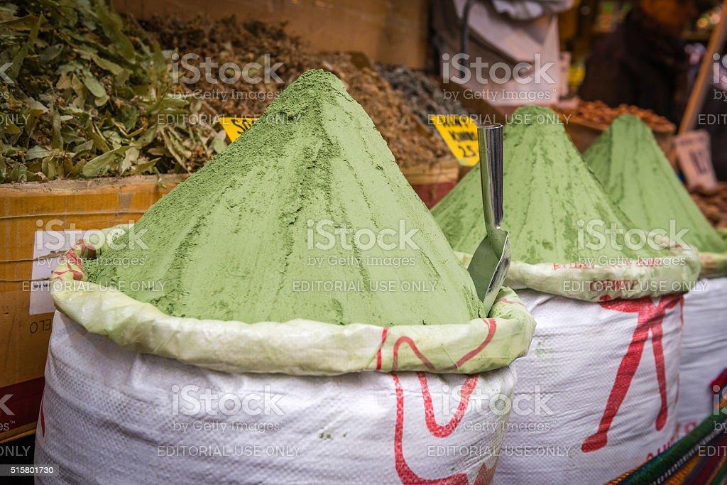 Sacks with henna powder on oriental market in Istanbul, Turkey stock photo
