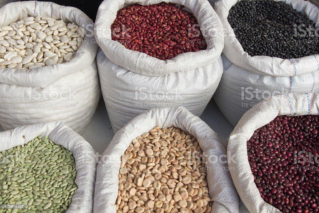 Sacks with Legumes Beans Market - Sacos con Legumbres Frijoles stock photo