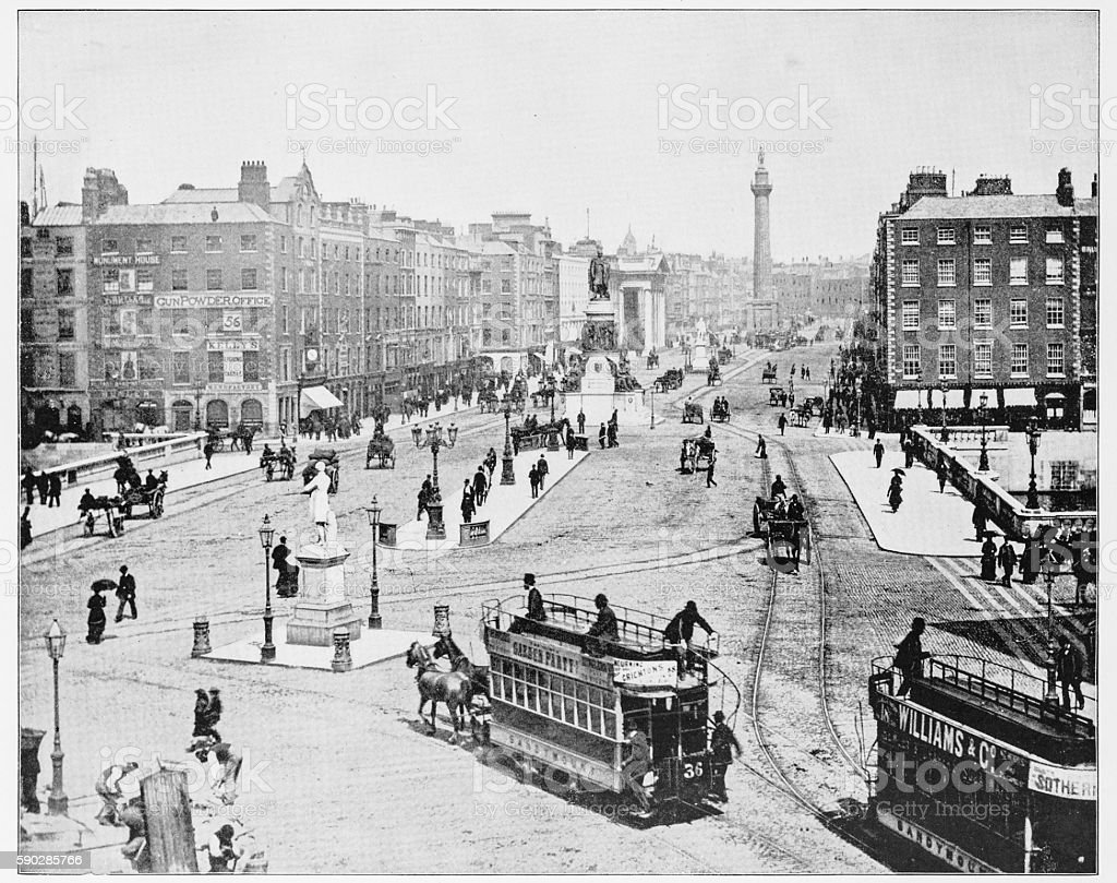 Sackville Street, Dublin, Ireland in 1880s stock photo