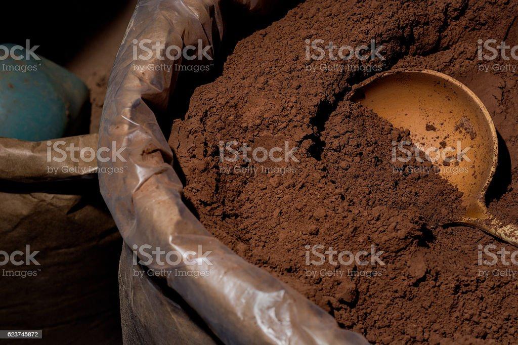 Saco de chocolate em pó stock photo