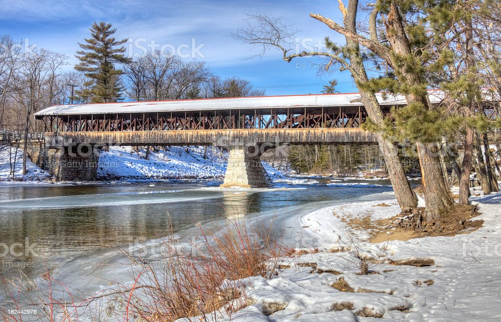 Saco River Covered Bridge stock photo