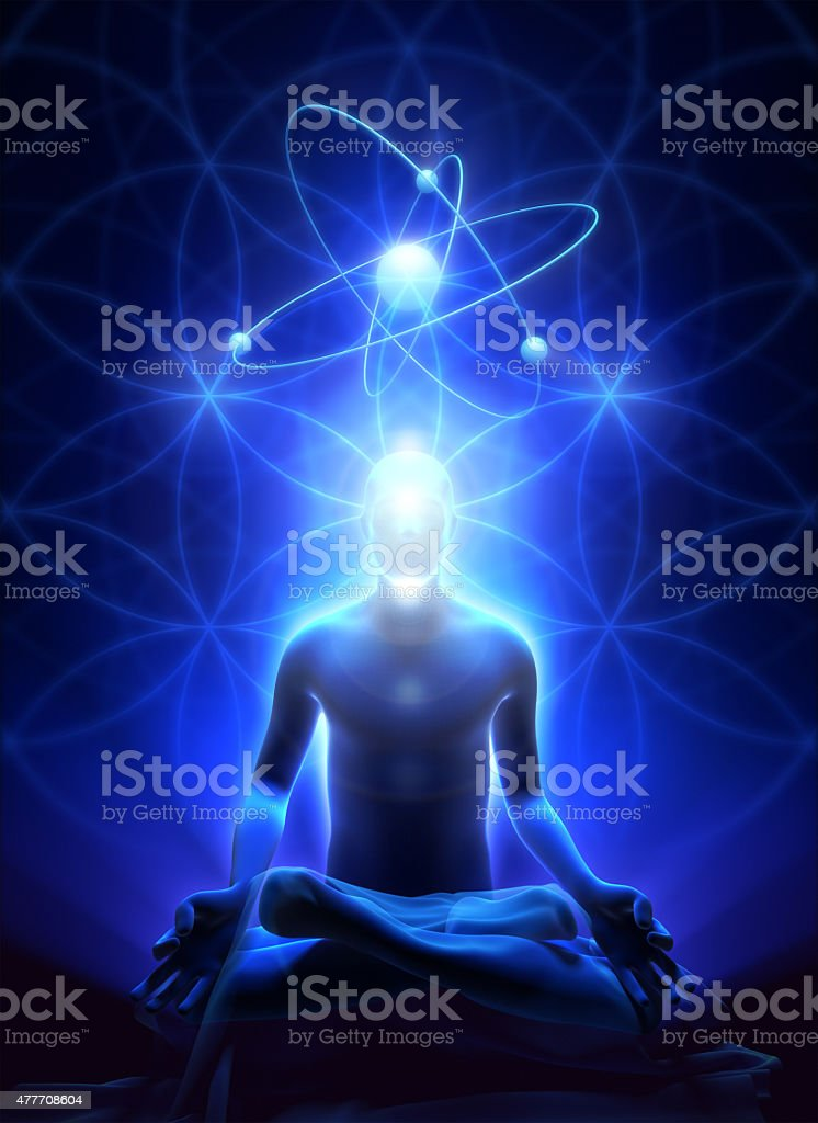 Sacral geometry and meditation of man stock photo