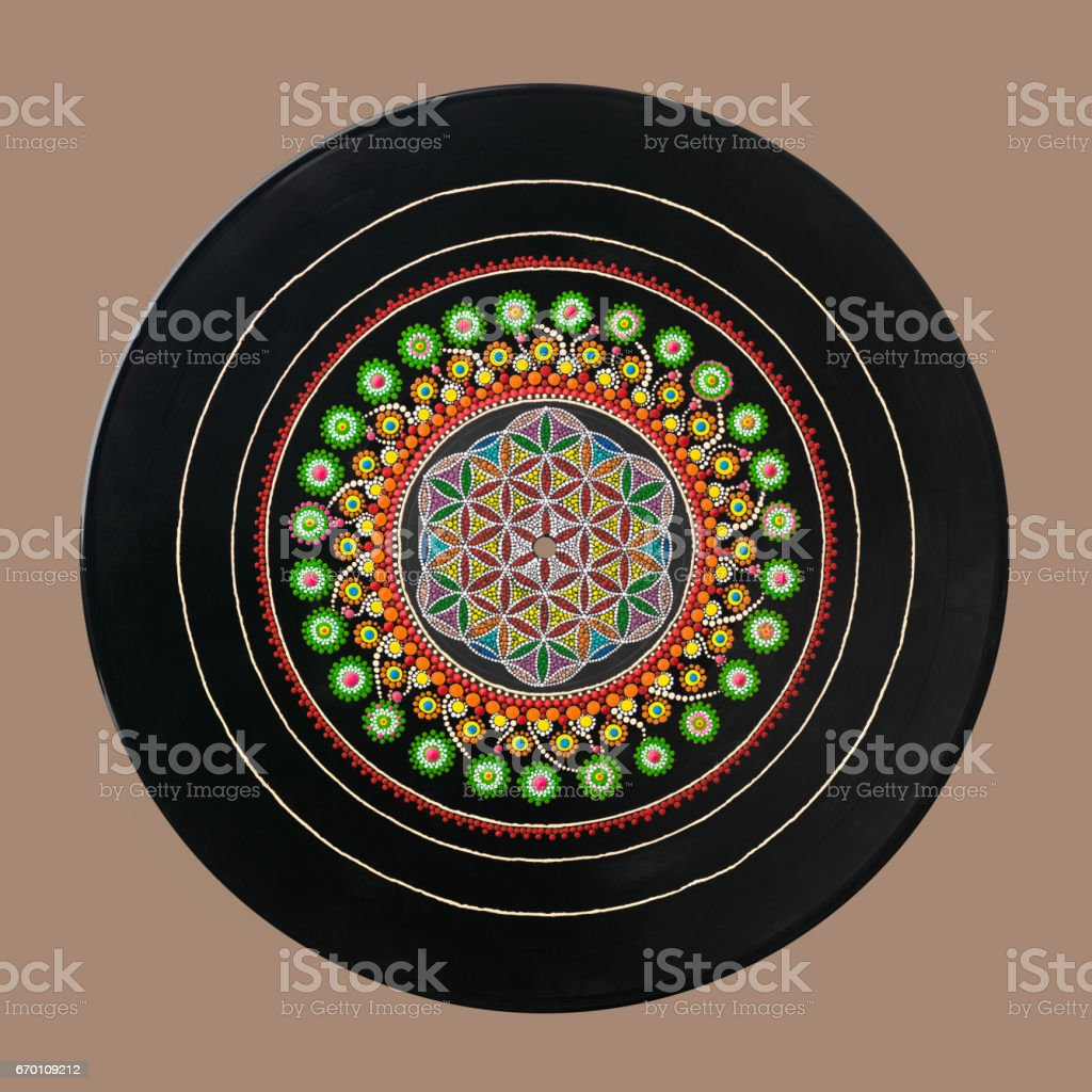 sacral geometry on vinil stock photo
