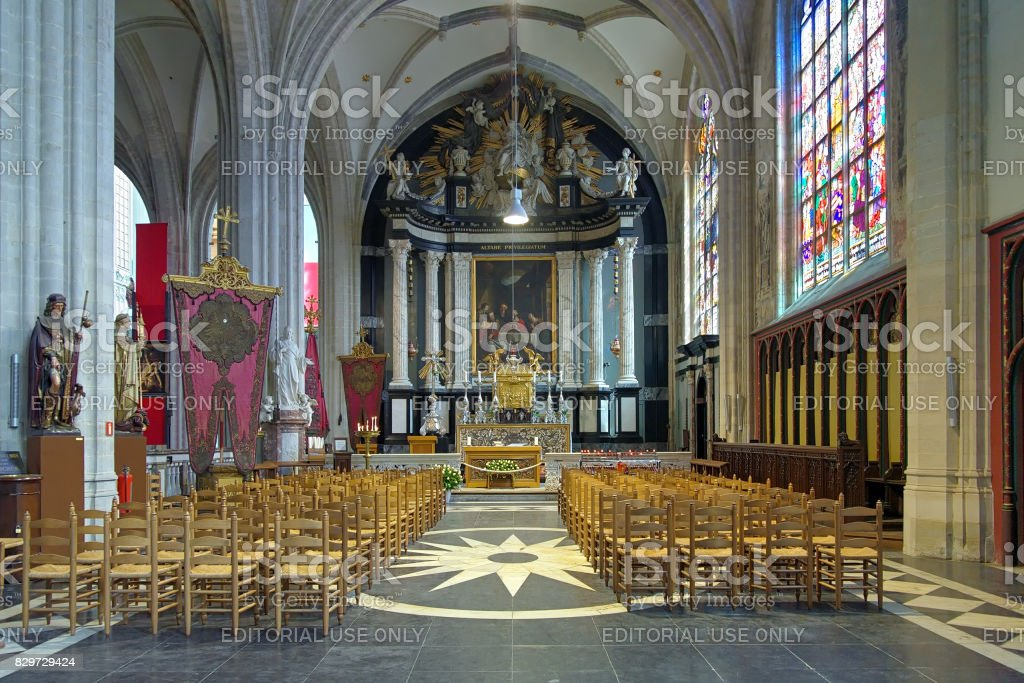 Sacrament chapel in Cathedral of Our Lady in Antwerp, Belgium stock photo