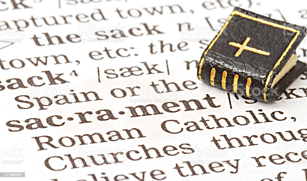 sacrament definition in dictionary with bible stock photo