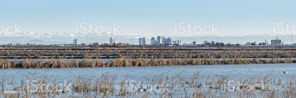 Sacramento and Sierra Nevada panorama stock photo