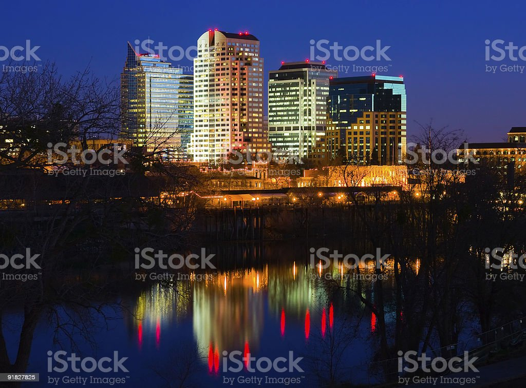Sacramento at night royalty-free stock photo