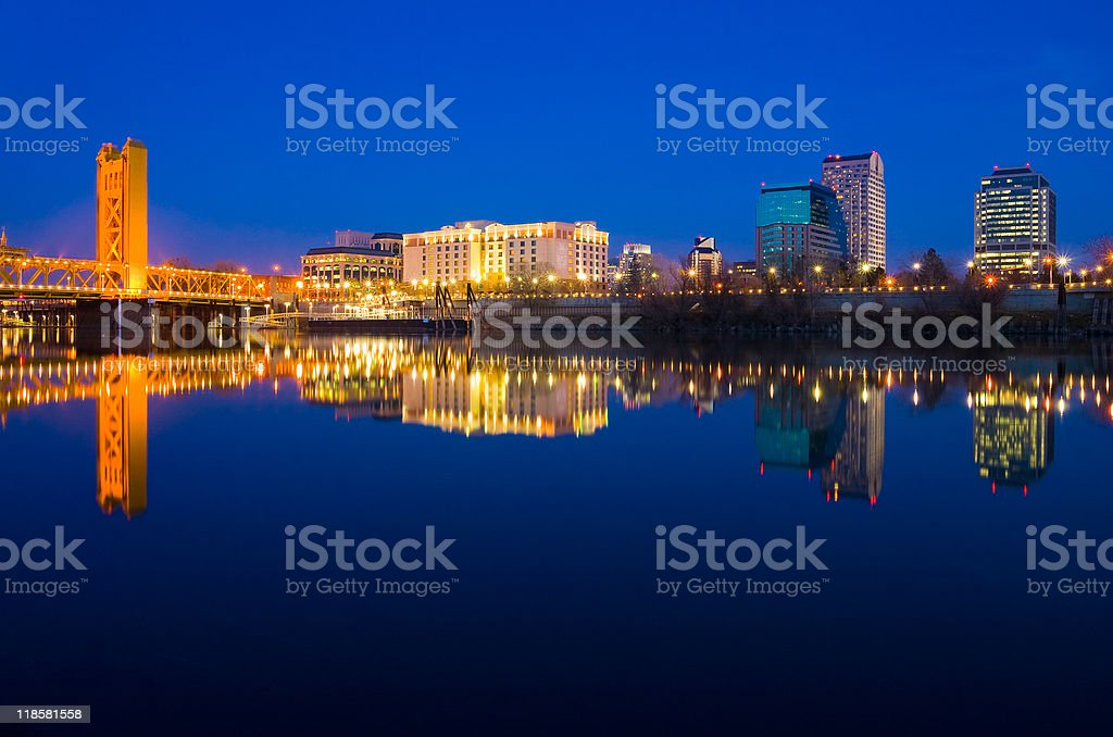 Sacramento California at night stock photo