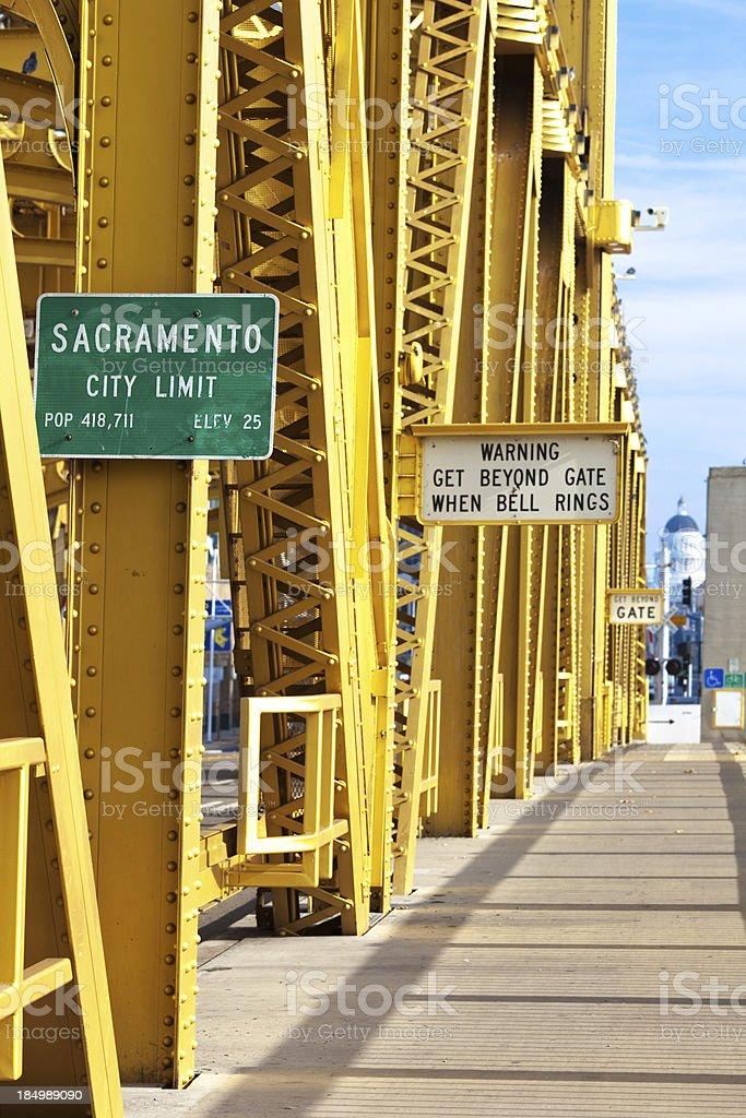 Sacramento City Limit Sign on a Bridge stock photo