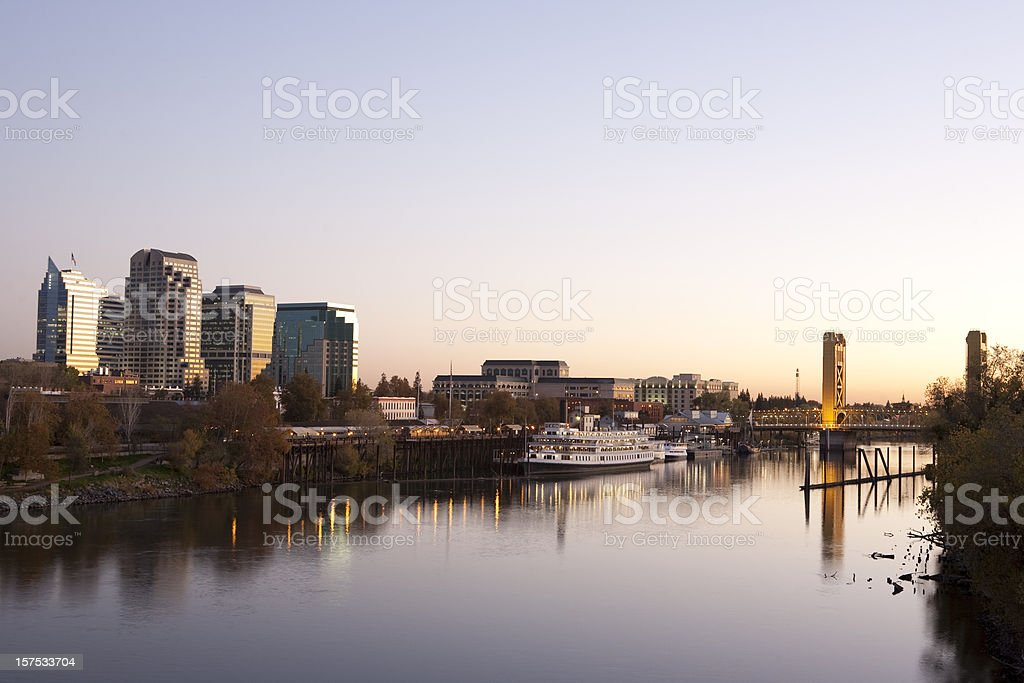 Sacramento downtown at sunset stock photo