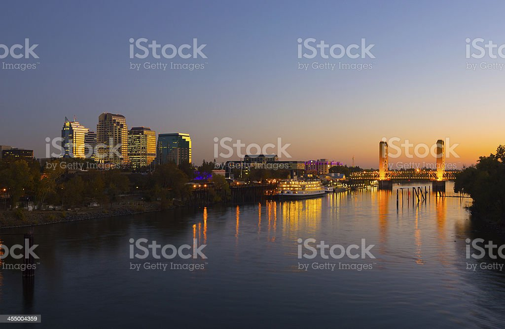 Sacramento downtown skyline and river at sunset stock photo