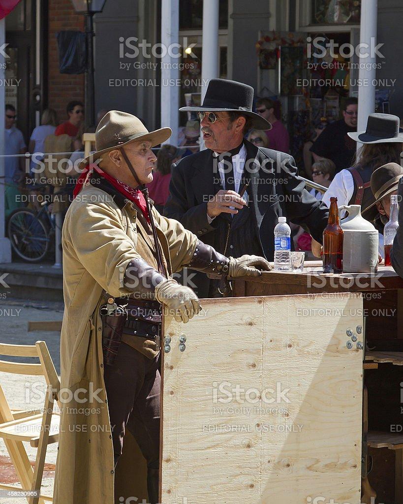 Sacramento Gold Rush Days Bar Scene With Gunfigher stock photo