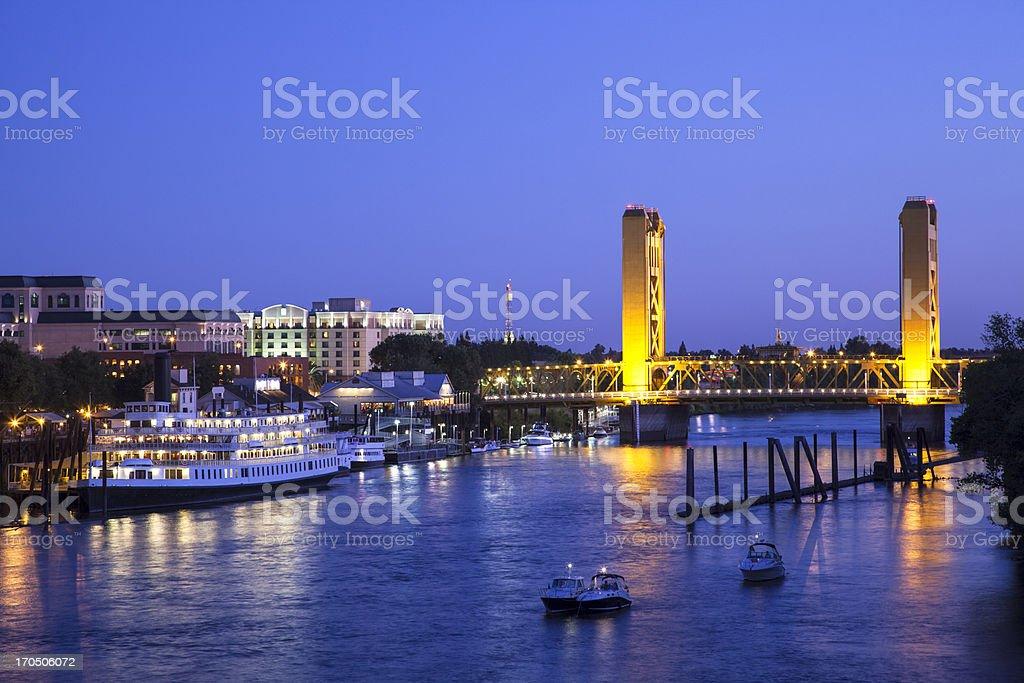 Sacramento River and Tower Bridge at dusk stock photo