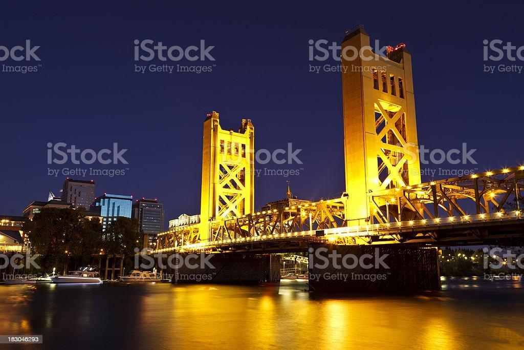 Sacramento River and Tower Bridge at late dusk royalty-free stock photo