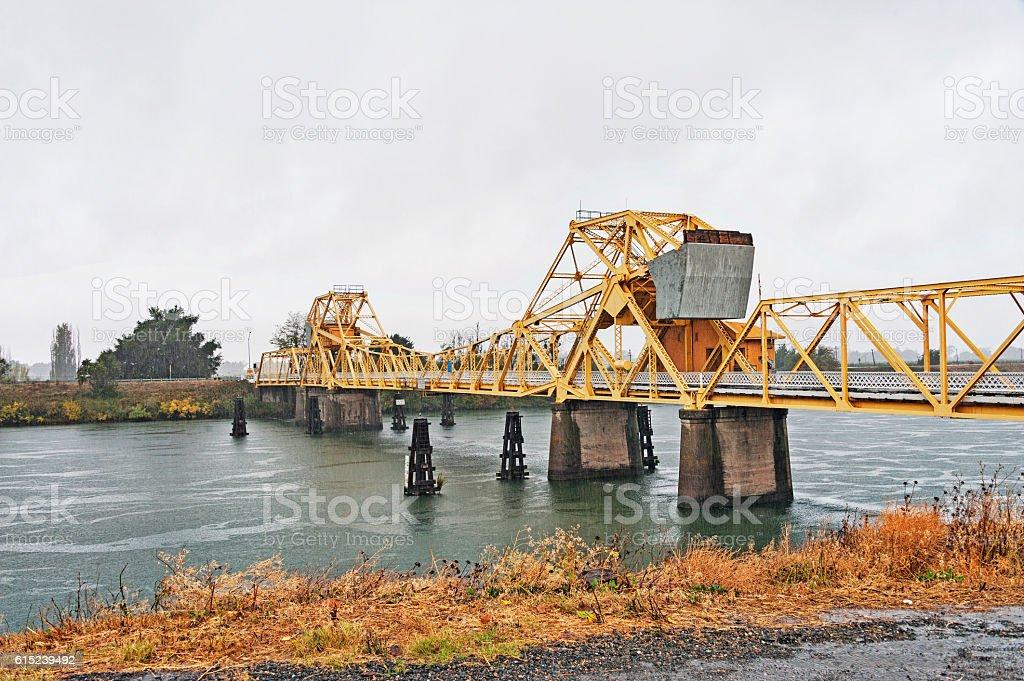 Sacramento River Bridge on the Delta with Rain stock photo