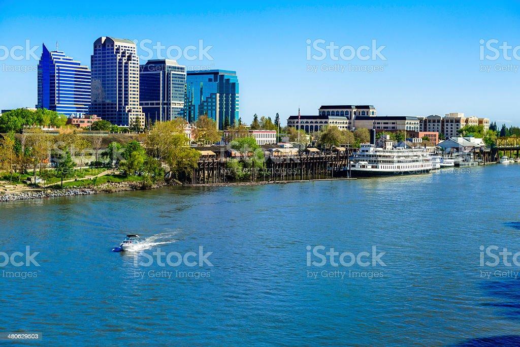Sacramento River, riverfront and downtown skyline stock photo