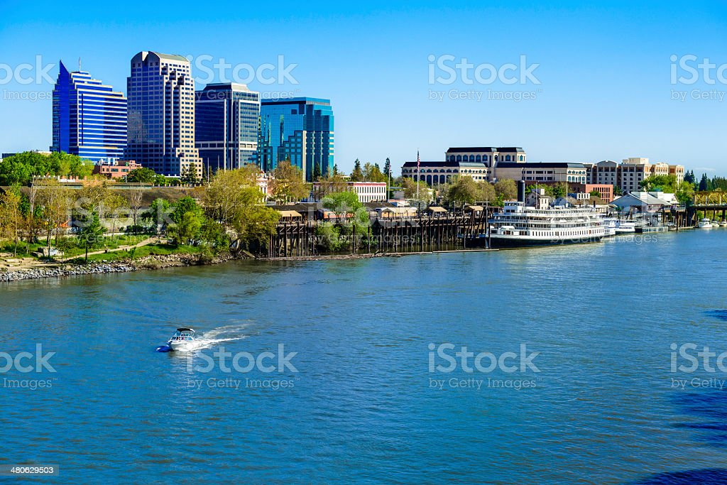 Sacramento River, riverfront and downtown skyline stock photo