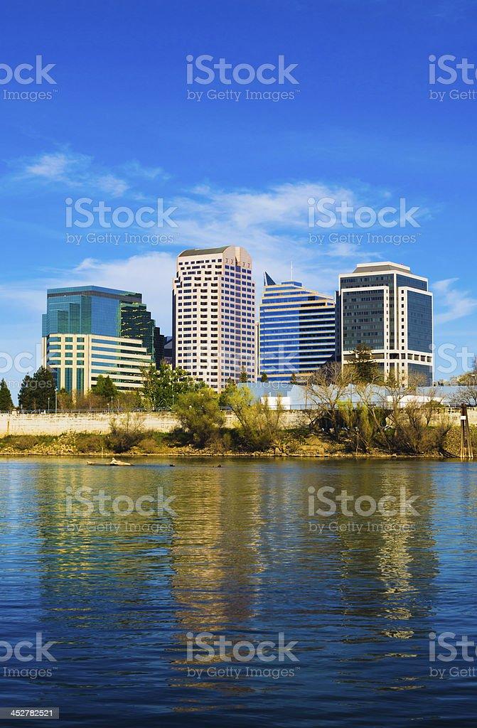 Sacramento skyline and river, portrait orientation stock photo