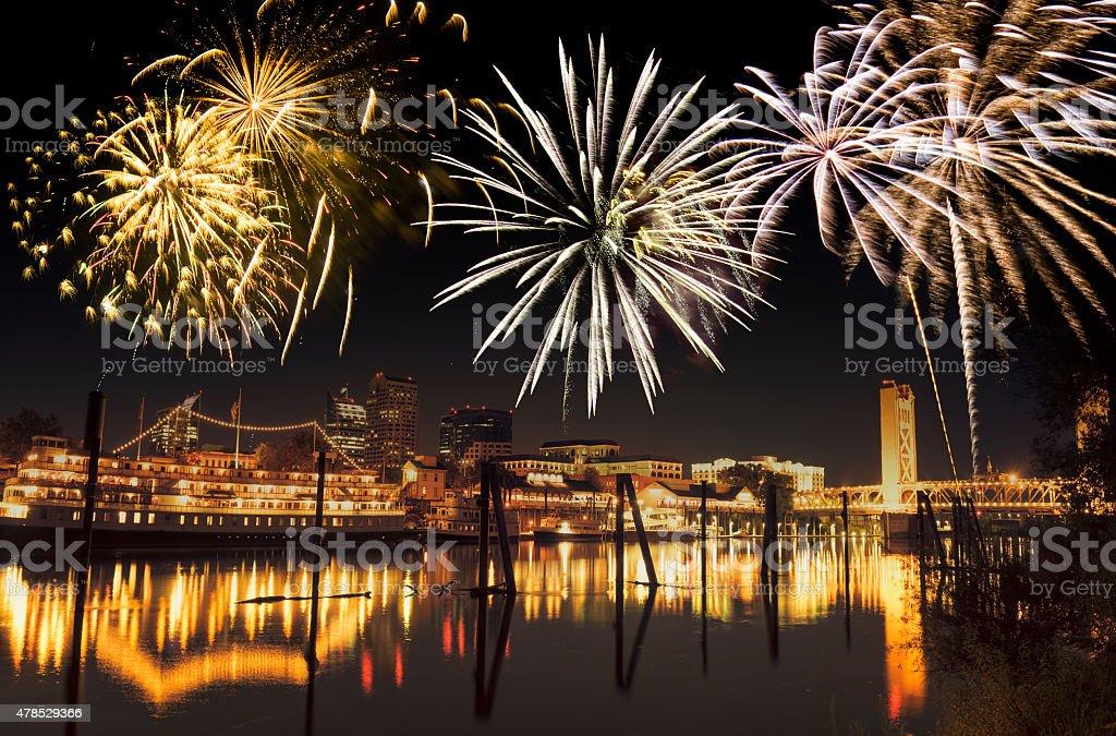 Sacramento skyline with fireworks for a national day stock photo