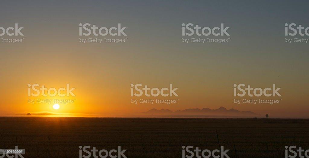 Sacramento Valley Sunrise stock photo