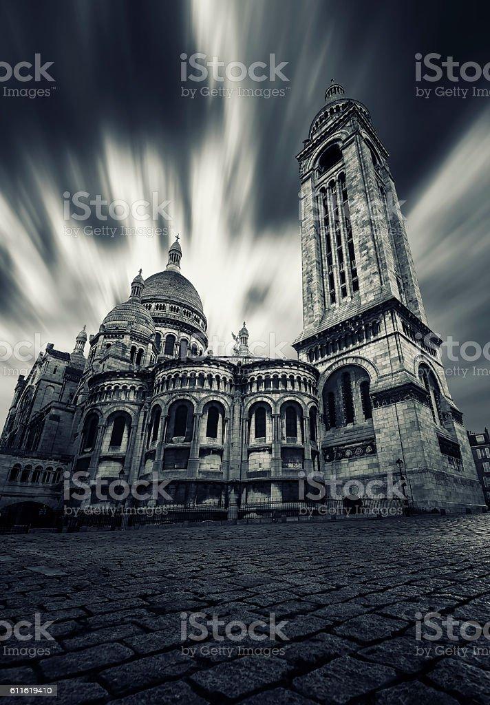Sacre Coeur basilica in Montmartre Paris stock photo