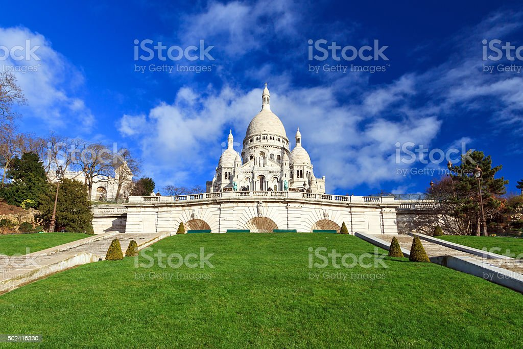 Sacre Coeur green and blue stock photo