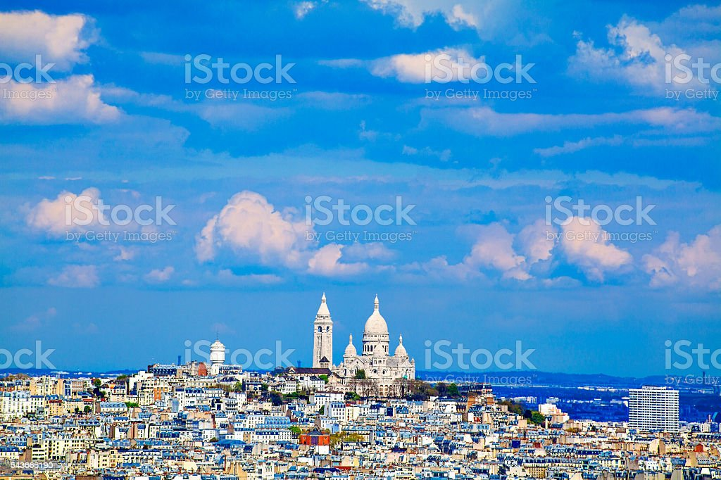 Sacre Coeur view from Eiffel Tower, Paris, France stock photo