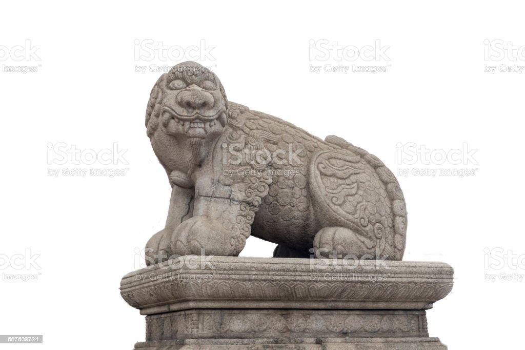 Sacred animal gatekeeper on palace gate in Myth of Korea stock photo