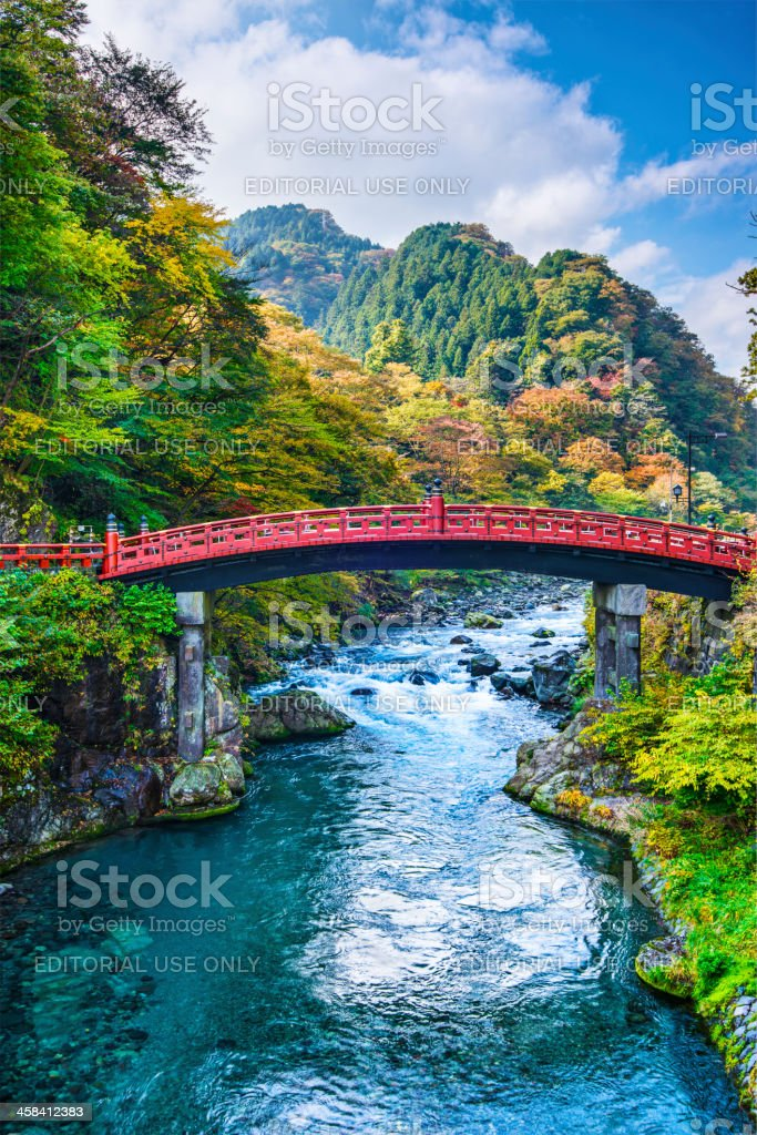 Sacred Bridge of Nikko, Japan stock photo