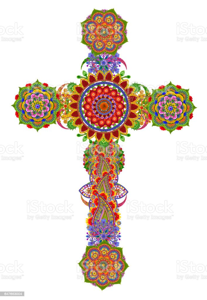 Sacred gentle cross of my God and Messiah Jesus Christ made from summer flowers. Isolated handmade collage stock photo