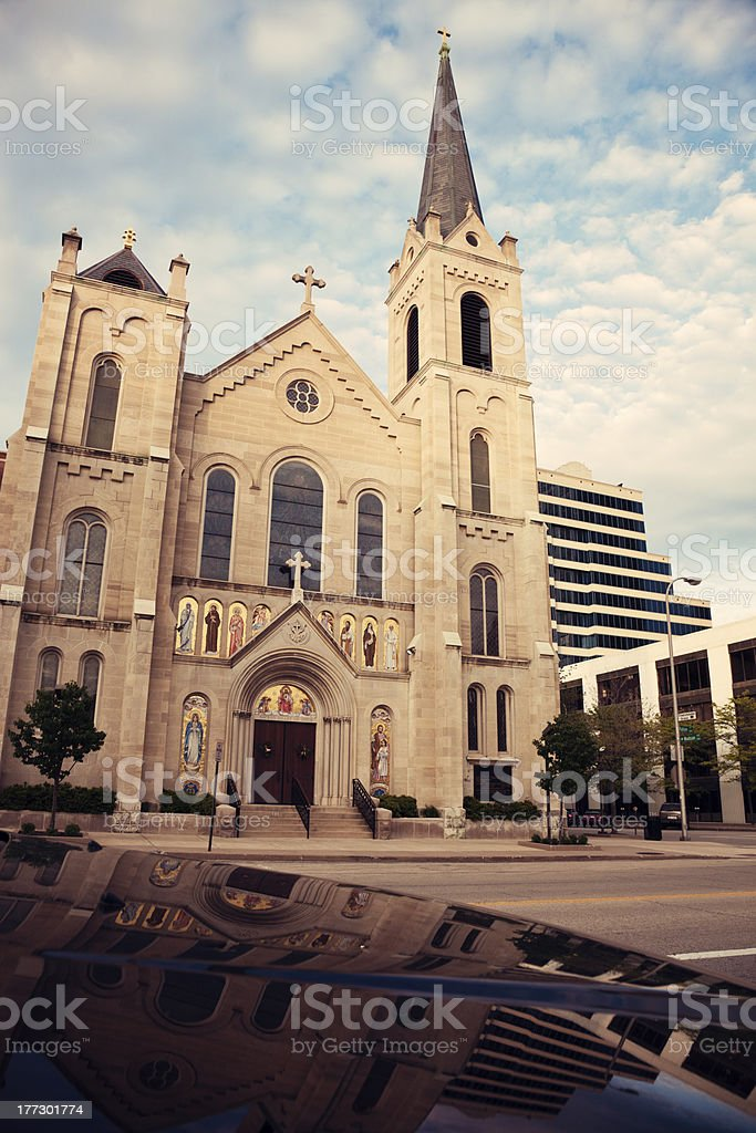Sacred Heart Church in the center of Peoria stock photo