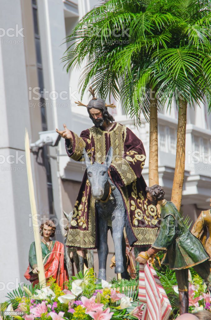 Sacred imagery of Jesus Christ in Valladolid Holly week stock photo