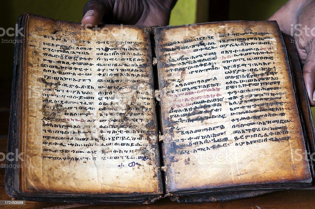 Sacred old Christian text in Ethiopia on Lake Tana stock photo